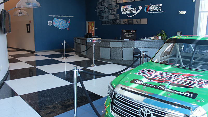 Interstate Batteries branded car at NASCAR Technical Institute