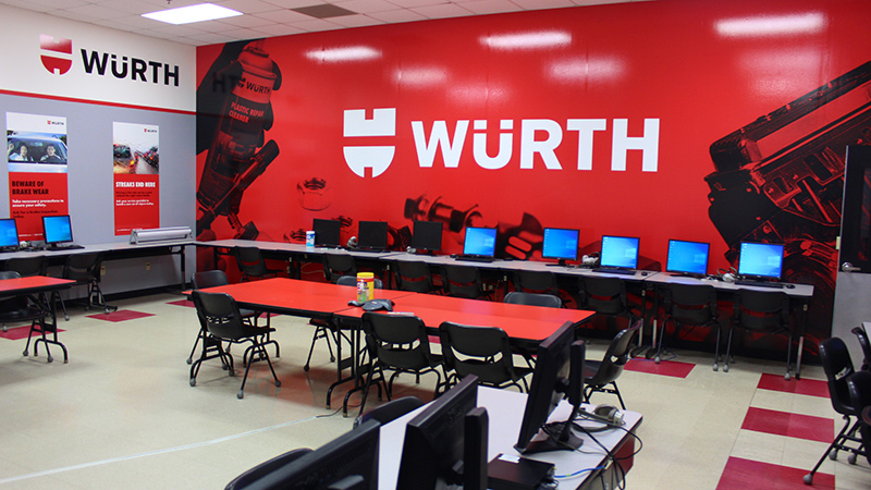 Wurth branded classroom at UTI campus