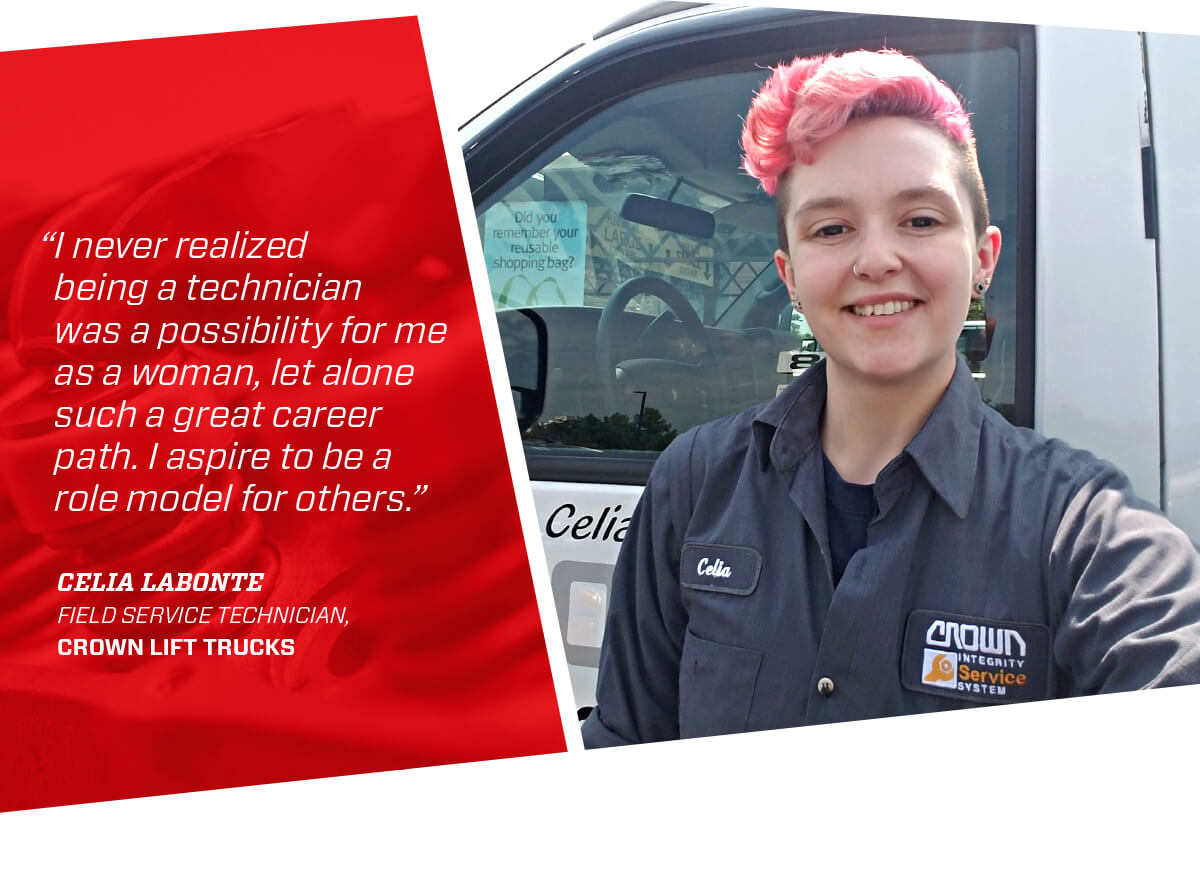 UTI Graduate Celia Labonte, Field Service Technician at Crown Lift Trucks,
