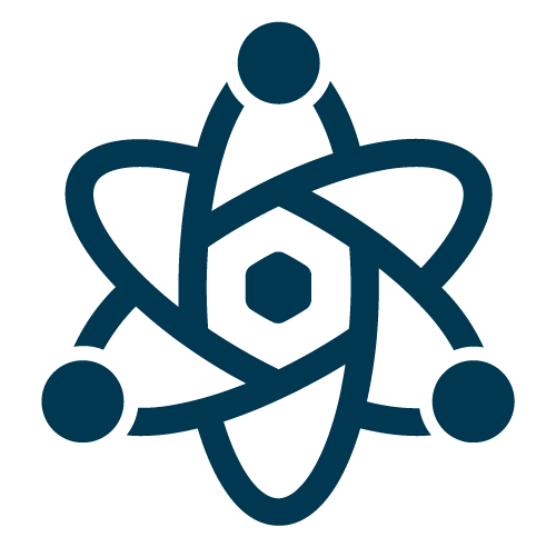 Science at Universal Technical Institute - navy blue atom symbol