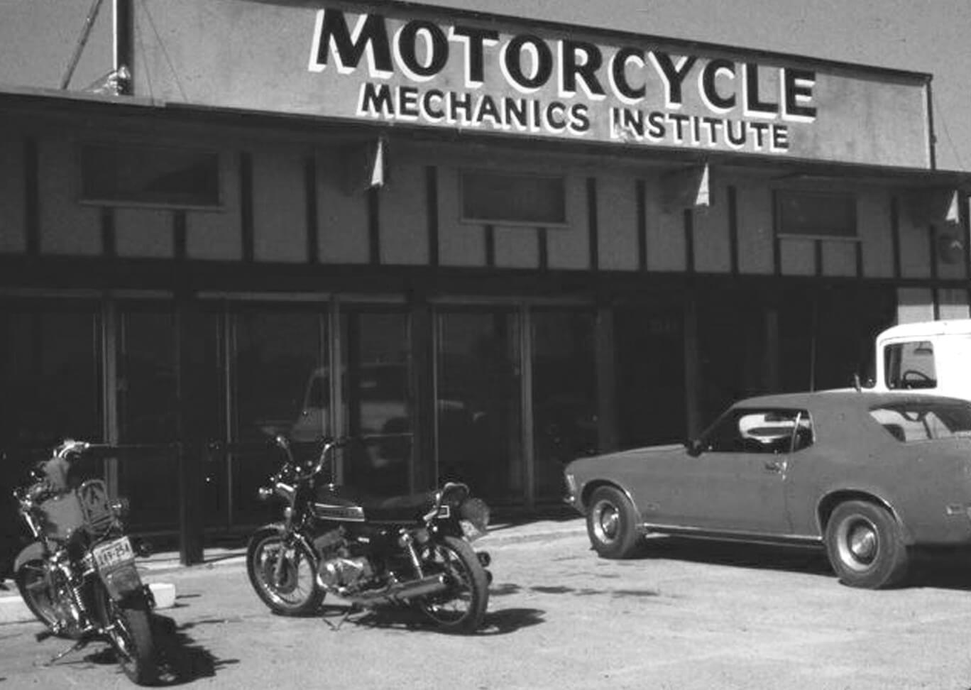 Old black and white exterior photo of the Motorcycle Mechanics Institute in Phoenix Arizona