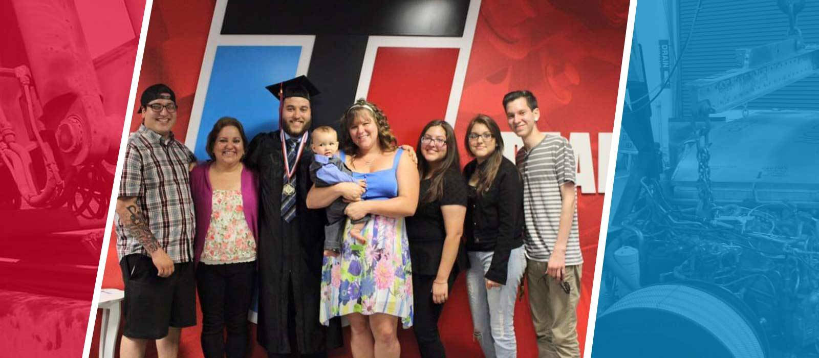 UTI graduate Corey Hedge automotive program diesel program Ford FACT program with his family at graduation
