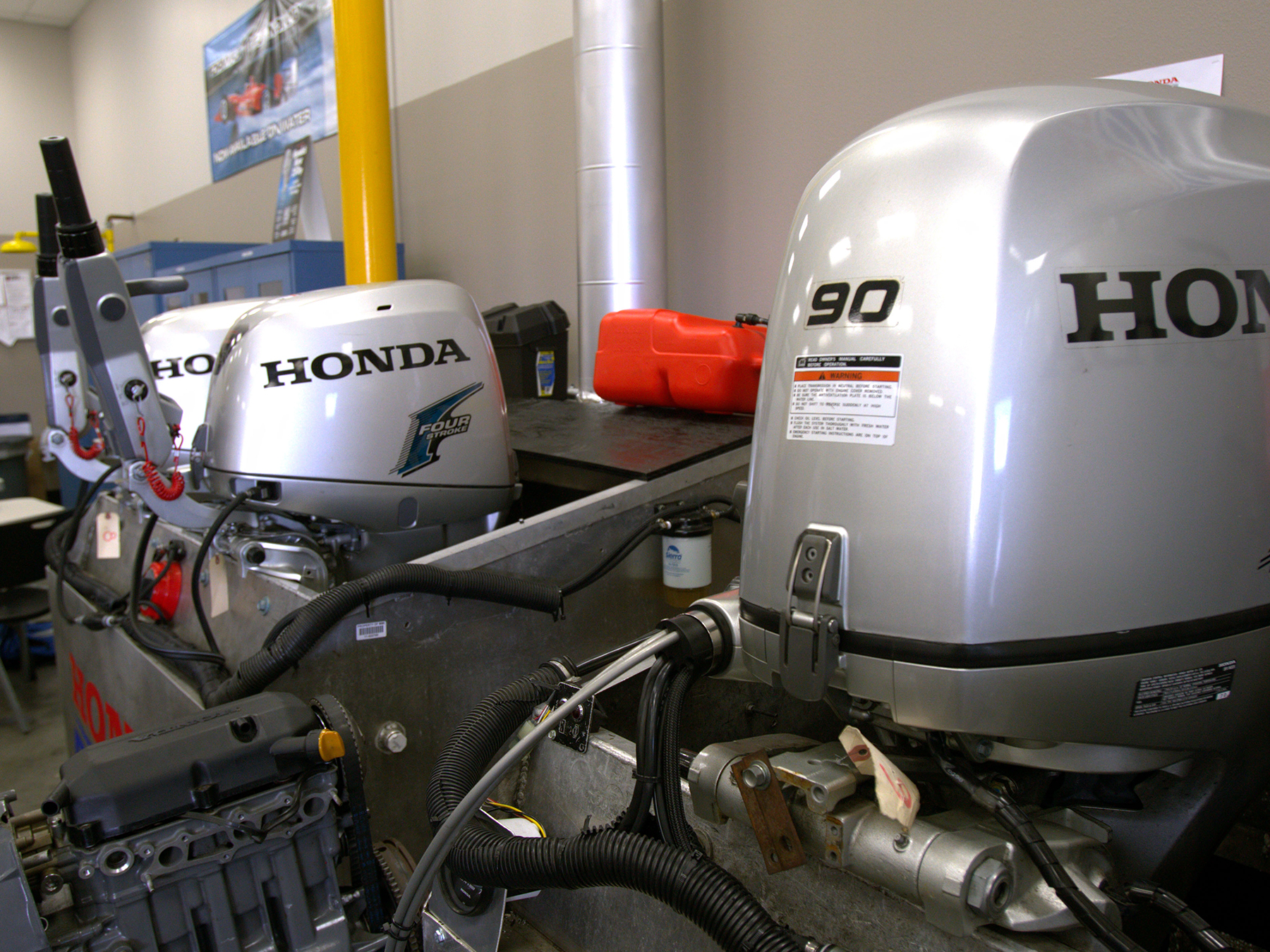 3 honda engines in the Honda marine lab