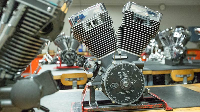 Motorcycle engine in an MMI classroom