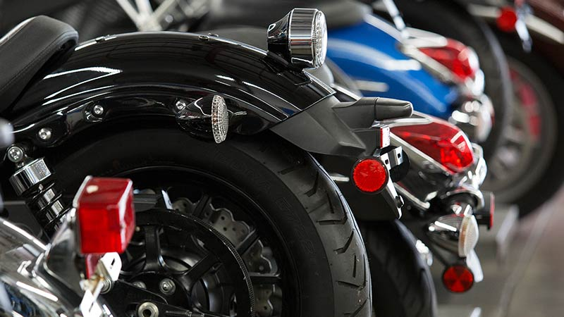 Yamaha motorcycle lineup in the lab at Motorcycle Mechanics Institute