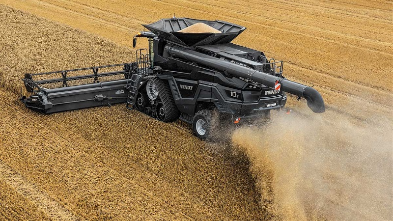 The Fendt IDEAL 10T combine works a field.