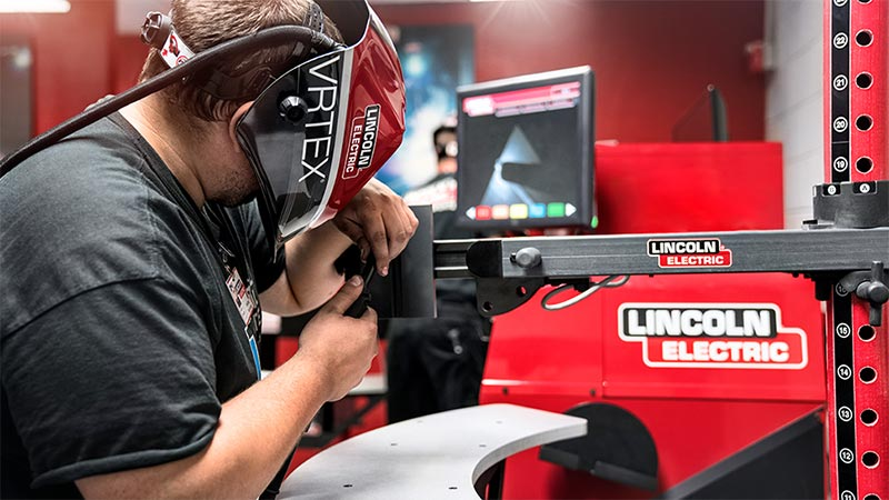 Universal Technical Institute Welding Technology Program Student Learning On The Lincoln Electric VRTEX Virtual Welding Trainer.