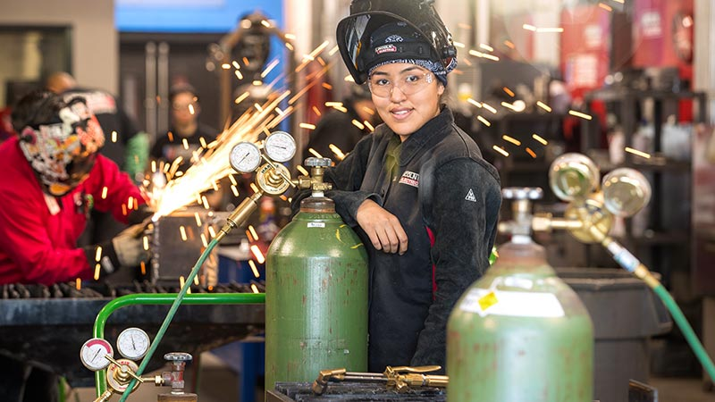Universal Technical Institute Welding Technology Program Female Student In The Lab.