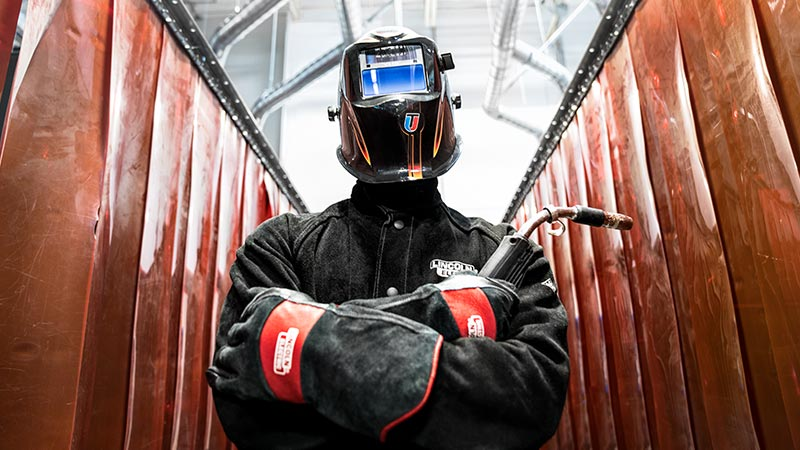 Universal Technical Institute Welding Technology Program Student Suited Up In The Lab.