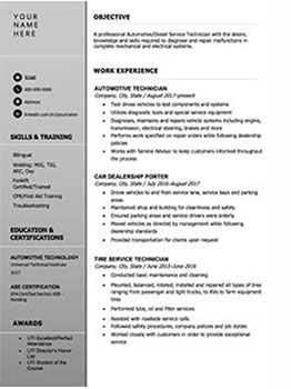 Resume for a diesel mechanic