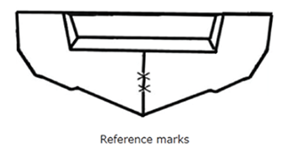 Reference marks for rigging a boat