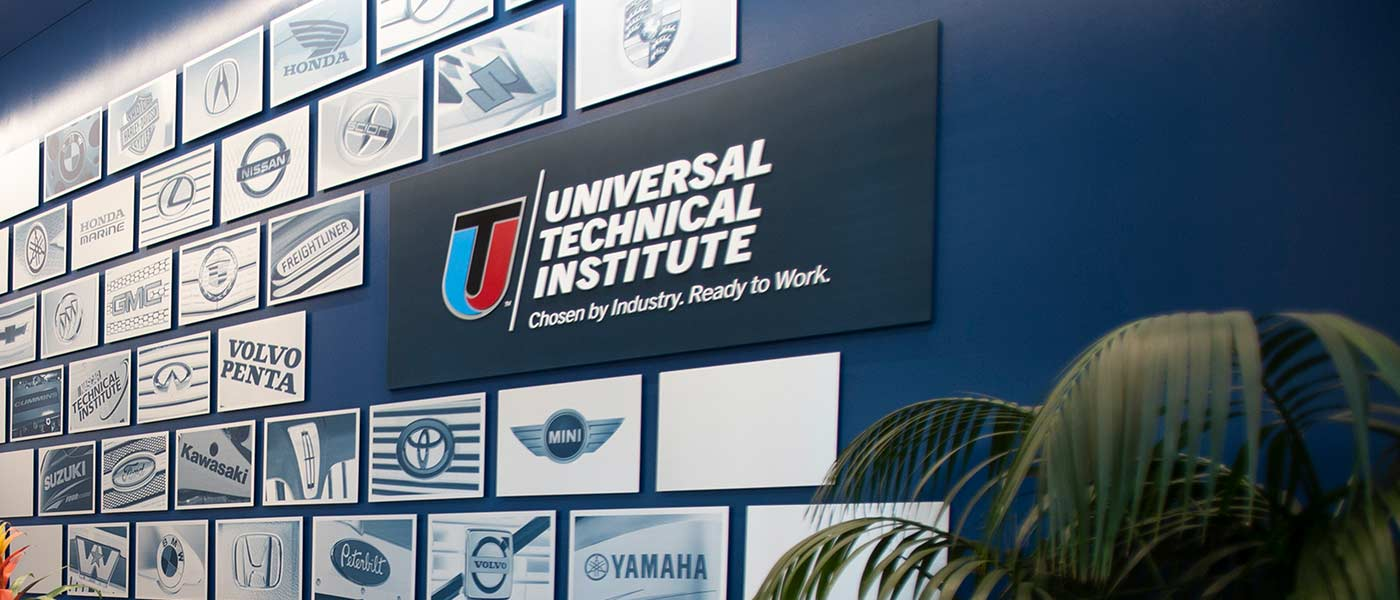 Wall at UTI campus with aftermarket partner logos 2